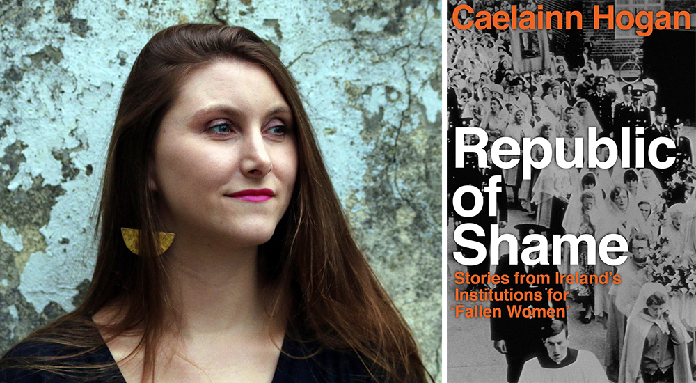 Author of Republic of Shame Caelainn Hogan poses for a photo split with the cover imagery of her new book Republic of Shame