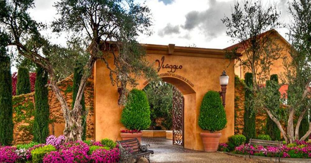 Entrance to Viaggio Estate & Winery in Acampo, California