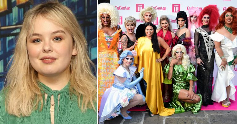Derry Girls actress Nicola Coughlan alongside the cast of Drag Race UK