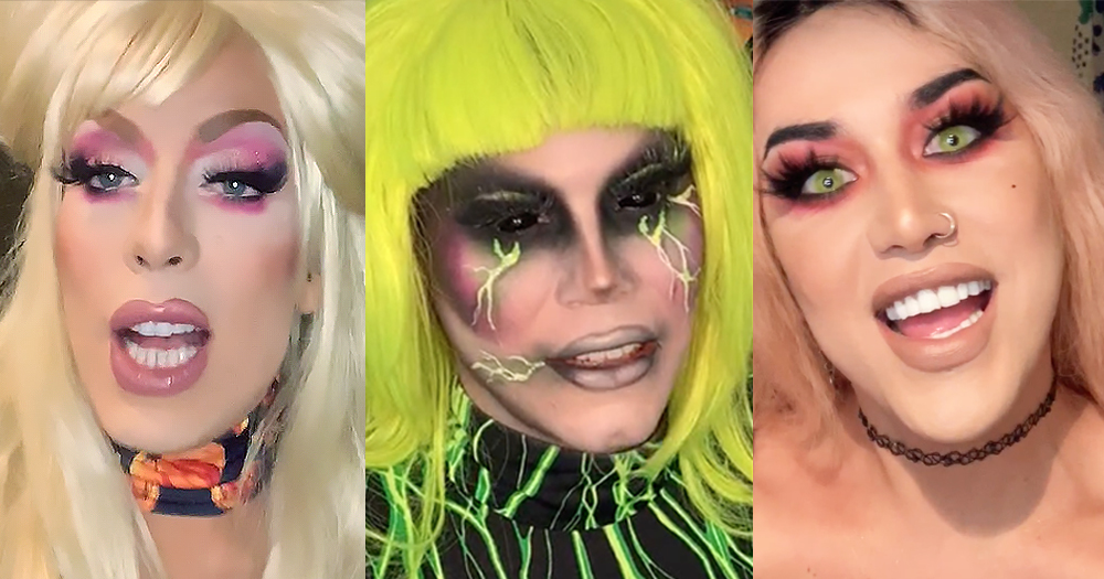 Close-up of drag queens Alaska Thunderfuck, Sharon Needles and Adore Delano sharing their congratulations to Northern Ireland for passing marriage equality