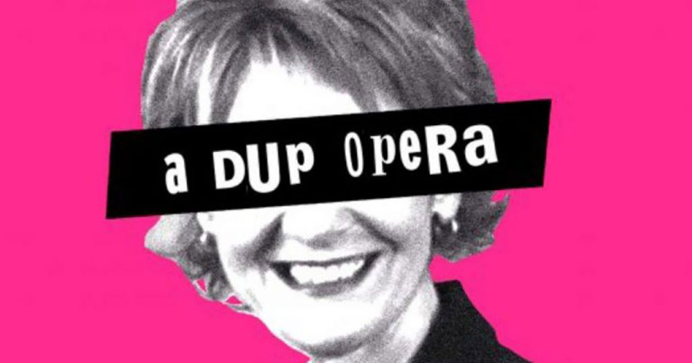 "Poster for ABOMINATION: Illustration of Iris Robinson covered by text that reads ""a DUP opera"""