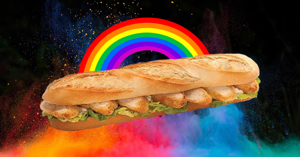 Promo image for one of My Big Fat Gay Pub Quiz prizes: A chicken fillet roll, behind it an explosion of colours and a rainbow.