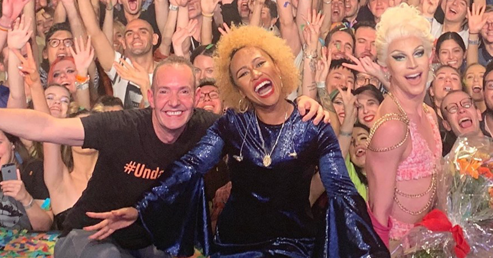 Emeli Sande, Aquaria, and Jeremy Joseph in front of people at Heaven.