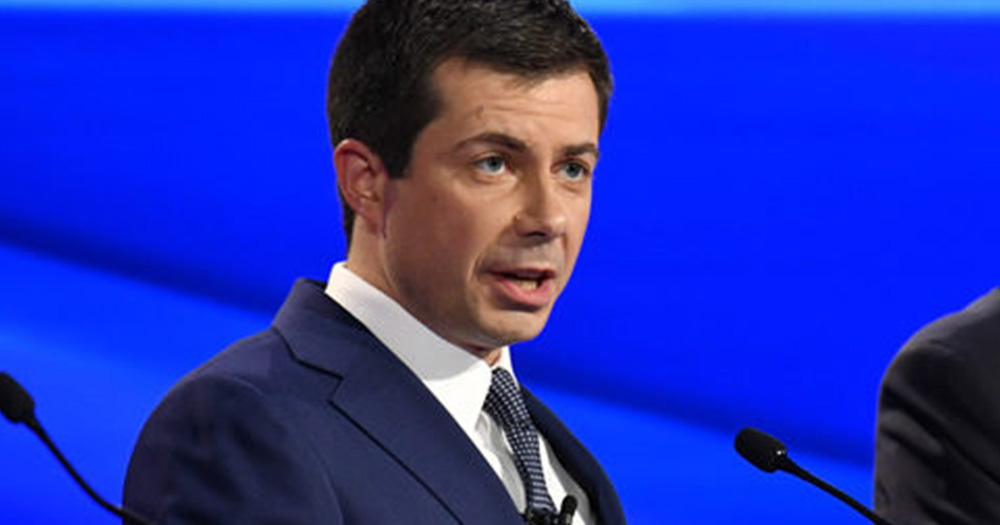 Pete Buttigieg speaking during the third Democratic primary debates
