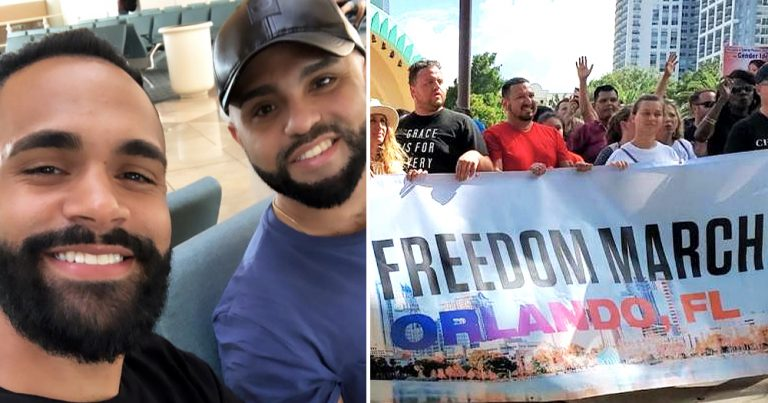 "Pulse survivors Luis Javier Ruiz and Angel Colon, in the other half a photo of people holding a sign ""Freedom march"""