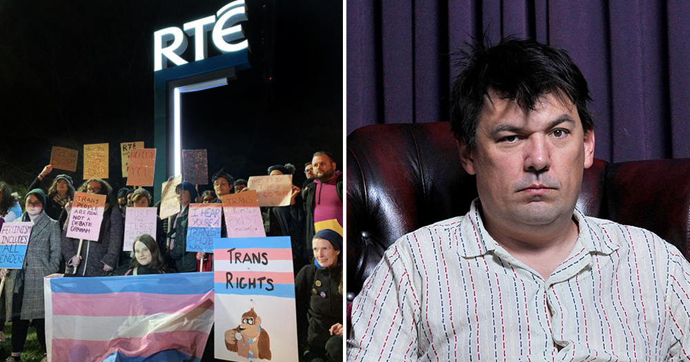 (right) Protester holding signs and trans flags outside RTÉ Prime Time episode featuring Graham Linehan (left)