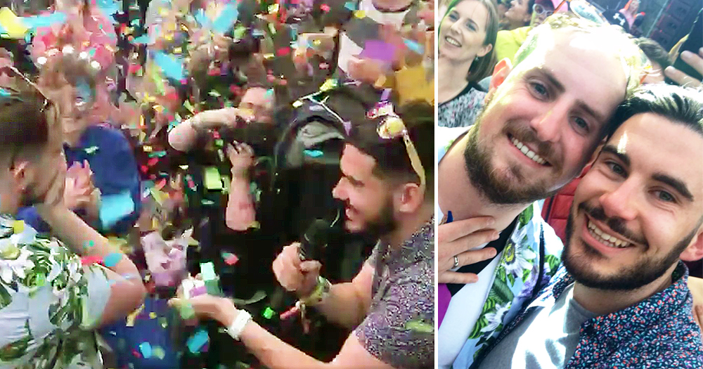 Gay man epic proposal at Electric Picnic: On left he is seen propsing to his fiance and on right the couple pose for a photo with one wearing a wedding band