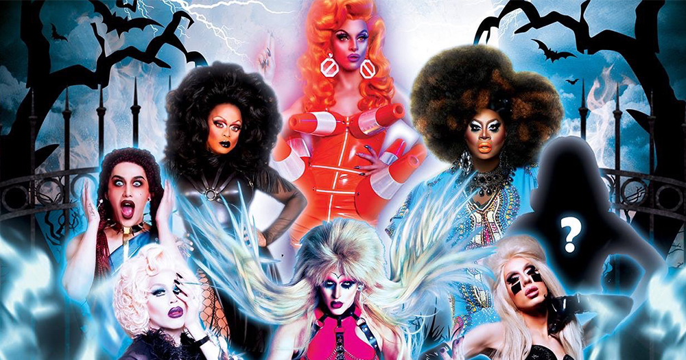 Eight drag queens in a Halloween graveyard as a poster for the Heels of Hell live event