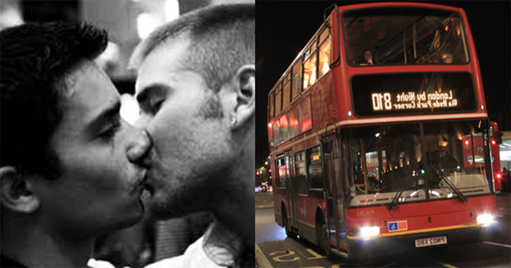 An image of two men kissing with a dark background, beside an image of a London double-decker bus.