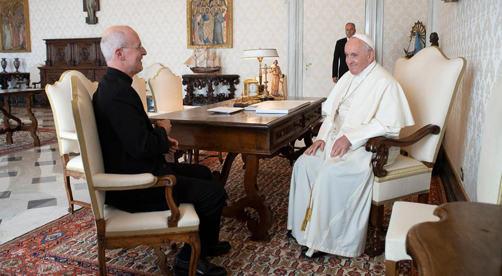 Pope Francis meeting Jesuit priest James Martin