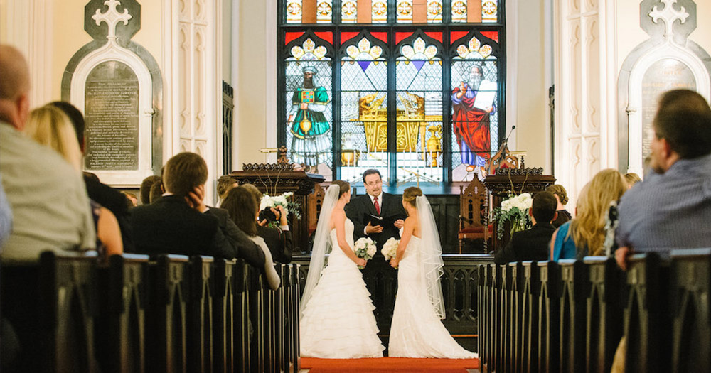 Two women getting married which three churches in Northern Ireland are opposed to.