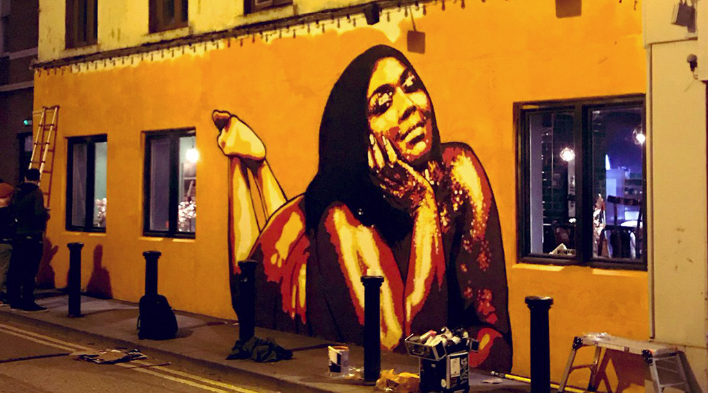 Lizzo mural based on the singers 'Cuz I Love You' tour image went up yesterday.