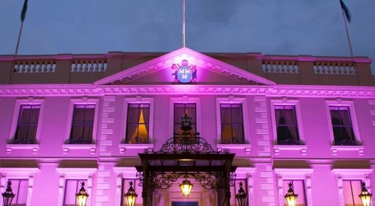 Dublin Mansion House lit purple for Intersex Day of Solidarity.