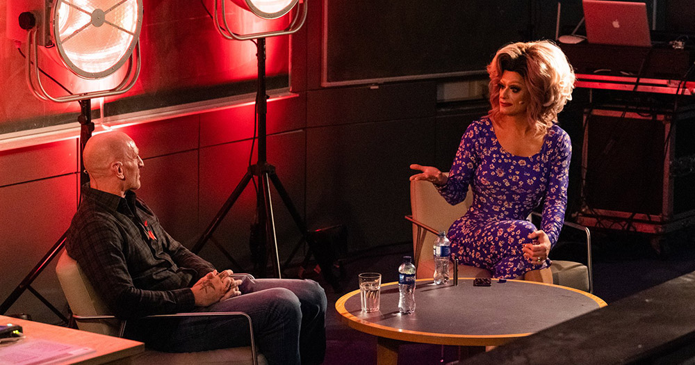 Panti Bliss speaking with Gareth Thomas for World AIDS Day 2019.