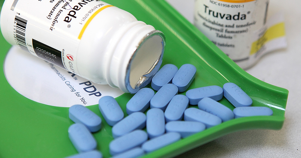 Gilead Sciences' PrEP drug Truvada pouring out of the bottle