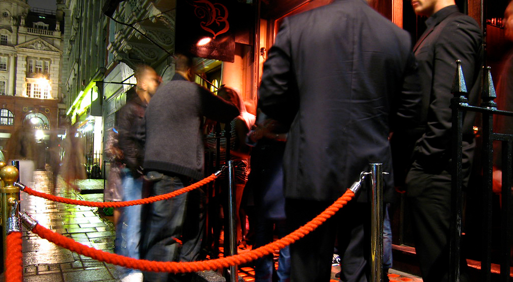 Bouncers outside a nightclub
