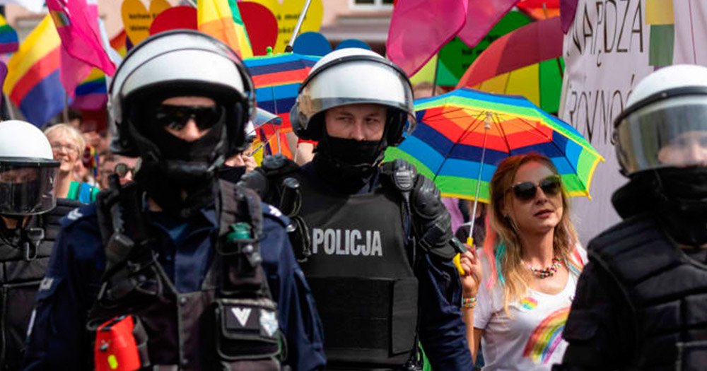 Police escorting Pride Parade in Poland due to homophobic attacks, which the European Parliament has condemned