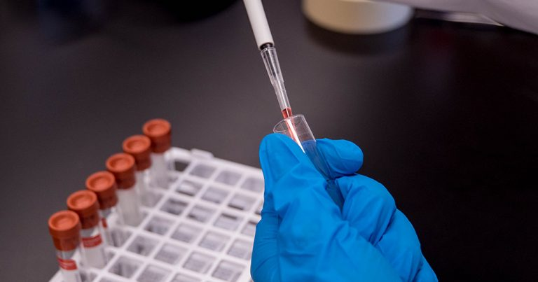 A gloved hand tests a vaccine in a test tube