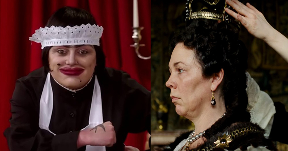 Baga Chipz in RuPaul's Drag Race UK and Olivia Coleman in The Favourite