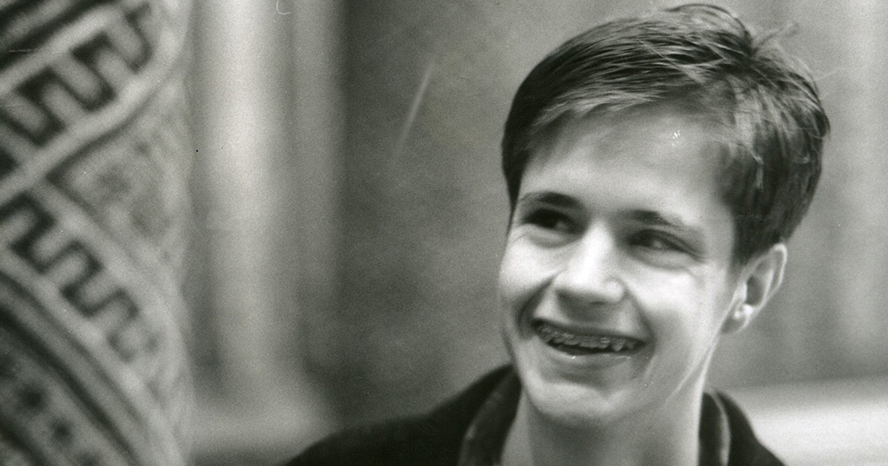 Matthew Shepard, a young man wearing braces smiling to someone off camera