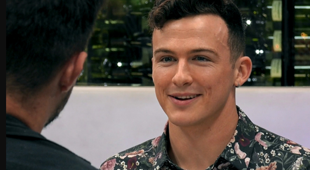 Cork man, Shane, wearing a floral shirt on First Dates, where he spoke about being diagnosed with HIV