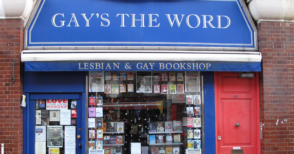 The exterior of a bookshop with a sign reading 'Gay's The Word'