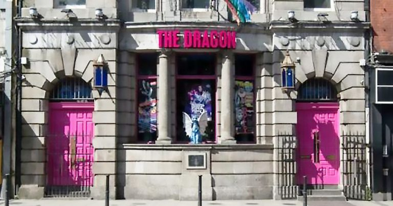 The Dragon Bar Dublin with its iconic pink sign and pink doors
