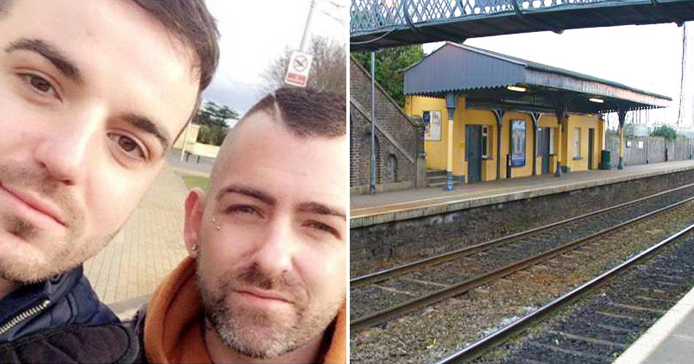 Left: screen of two men victim of a hate crime in Newbridge Right: the local train station.