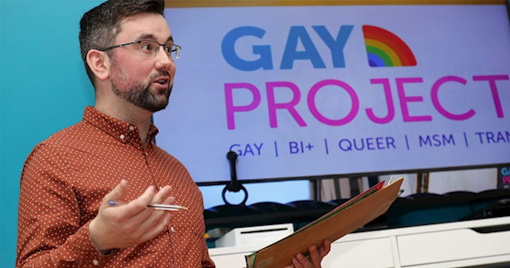 Padraig Rice speaking at a Gay Project talk, he speaks about his petition to bring PrEP to Cork