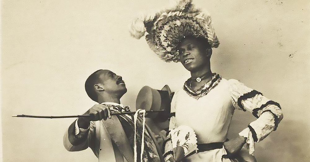 Drag queen and former slave William Dorsey Swann in a dress beside a man in a suit
