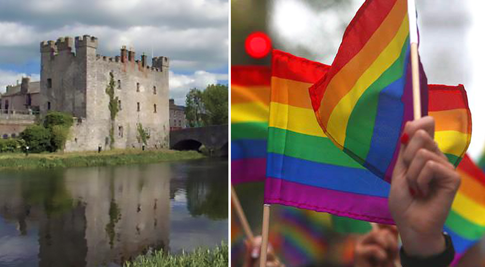 Split screen between the White Castle in Athy and hands waving Pride flags