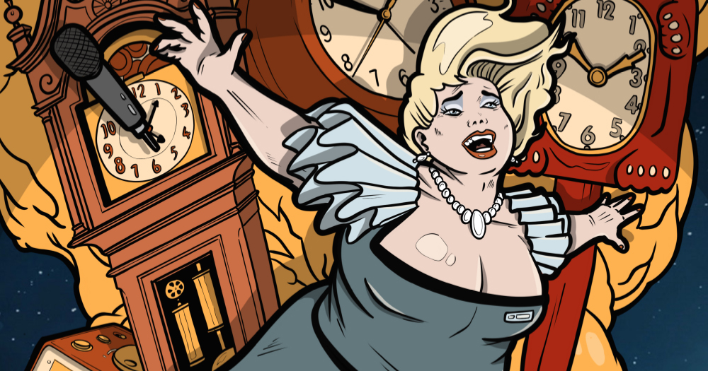 An illustration of a blonde woman flying with lots of clocks in the background