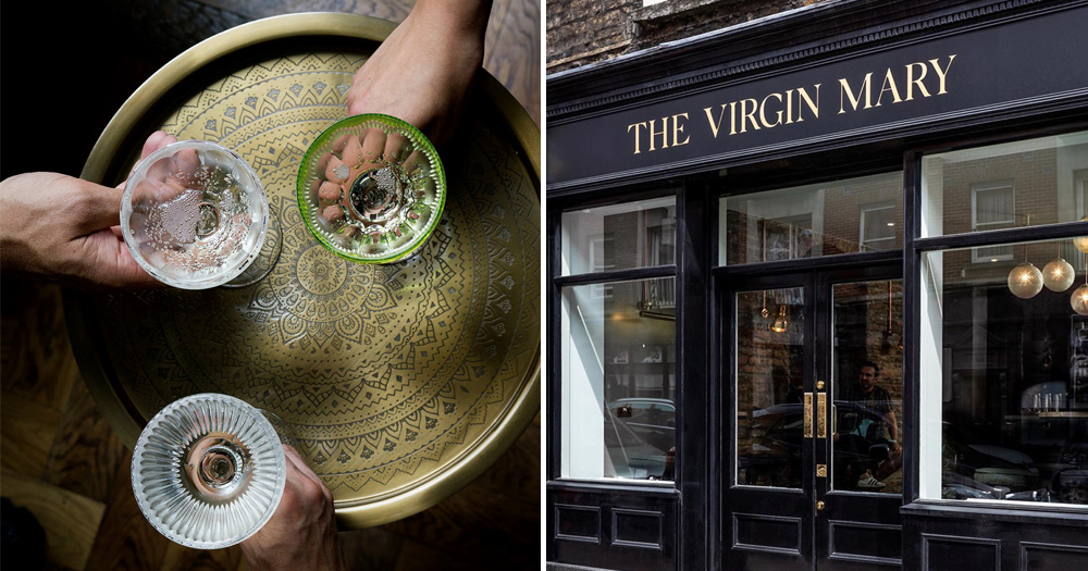 3 hands holding cocktail glasses and the front of Virgin Mary pub which will host an LGBT+ alcohol free event