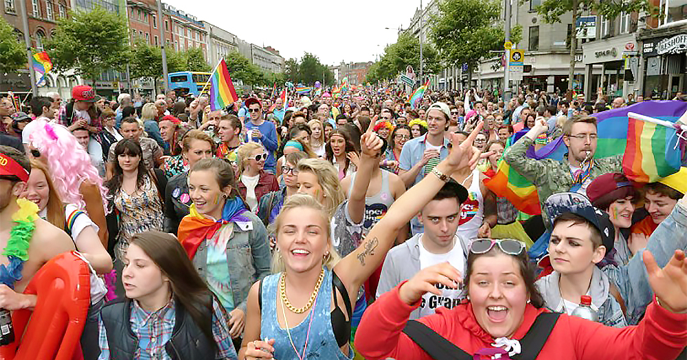 Crowds at Dublin Pride 2019. This years' festival has been postponed due to coronavirus