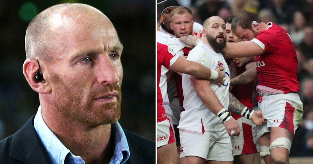 A split screen images of a burly bald man with an earpiece and a rugby match where one man is grabbing the crotch of a player on the opposing team
