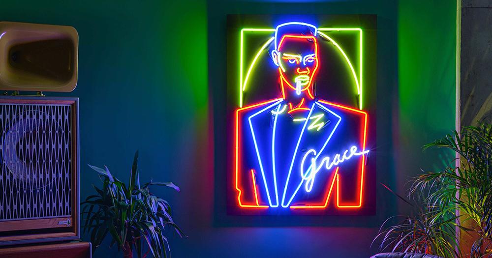 Image of Grace Jones done in neon lights as part of Black Girl Magic in Hens Teeth