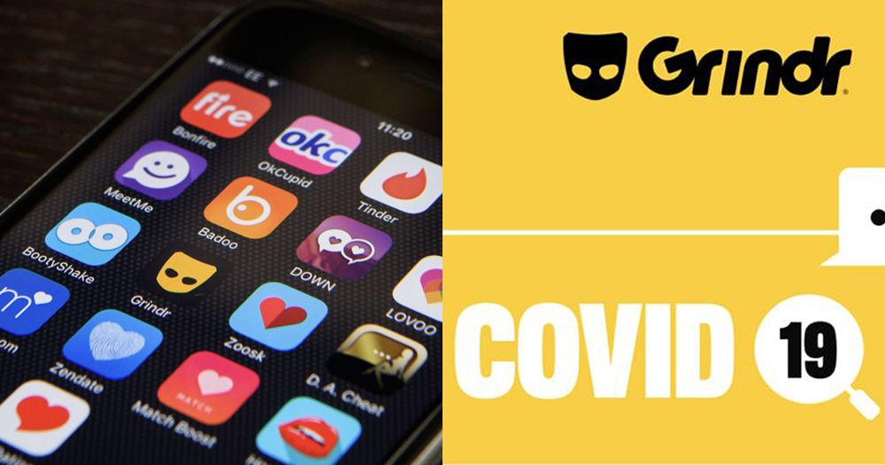 (left) Phone screen displaying dating apps (right) Grindr safety warning about coronavirus