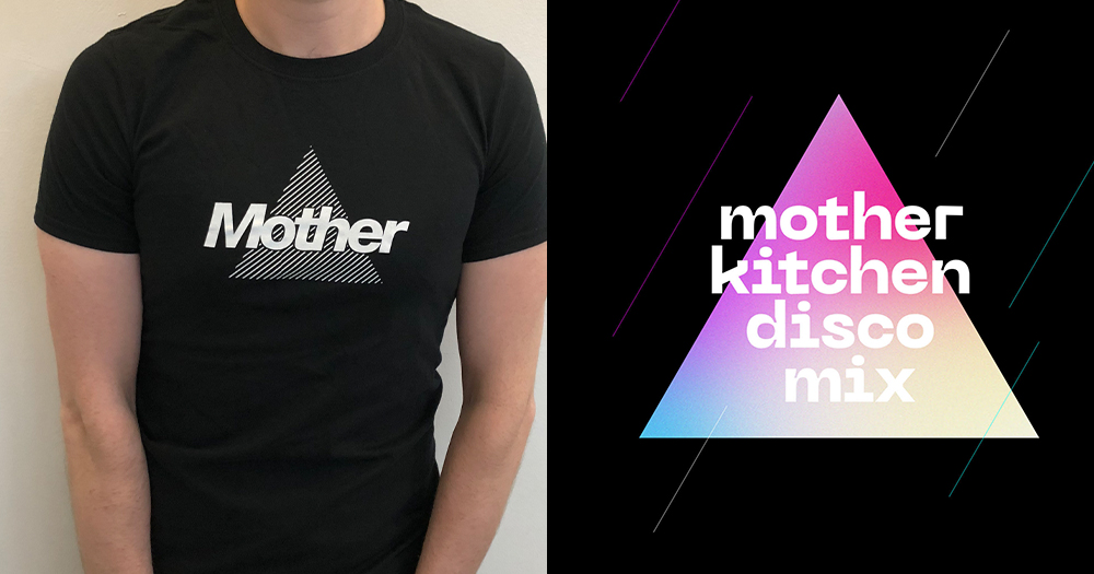 A Mother club logo on a t-shirt and a poster for their new Kitchen Disco Mix