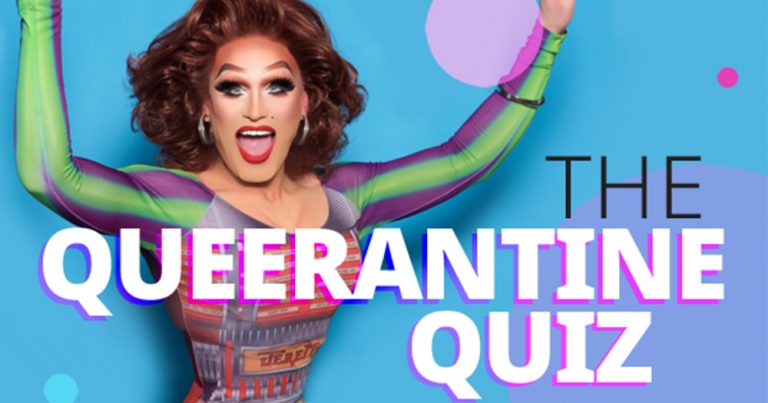 Poster for Queerantine Quiz featuring a drag queen jumping joyfully in front of a multicoloured background