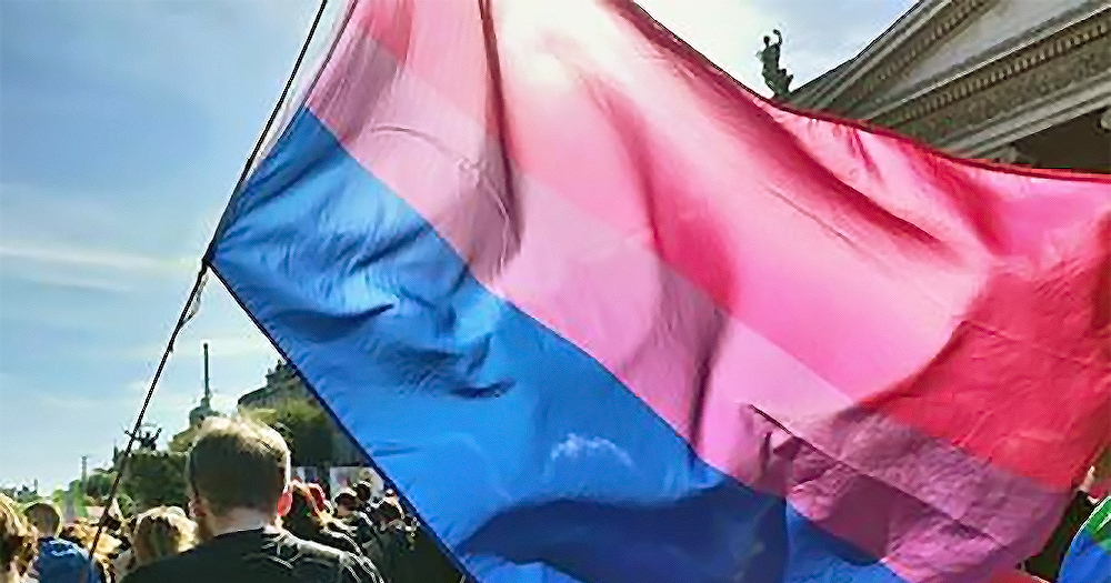 Bi Pride Flag waving in the air, an advocacy group have recently claimed copyright ownership of it