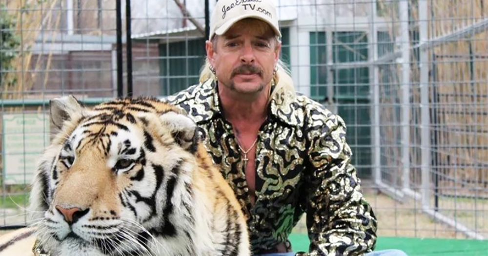 Joe Exotic with one of his tigers