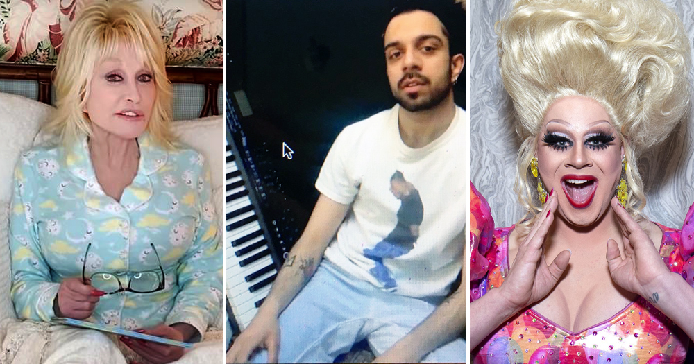 Uplifting LGBT+ news COVID-19: (left) Dolly Parton reading a book (middle) man beside keyboard (right) drag queen Nina West