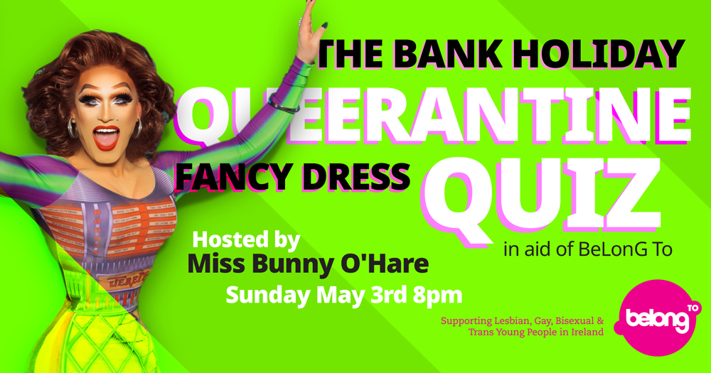 BeLonG To Queerantine Quiz promotional poster with Bunny O'Hare
