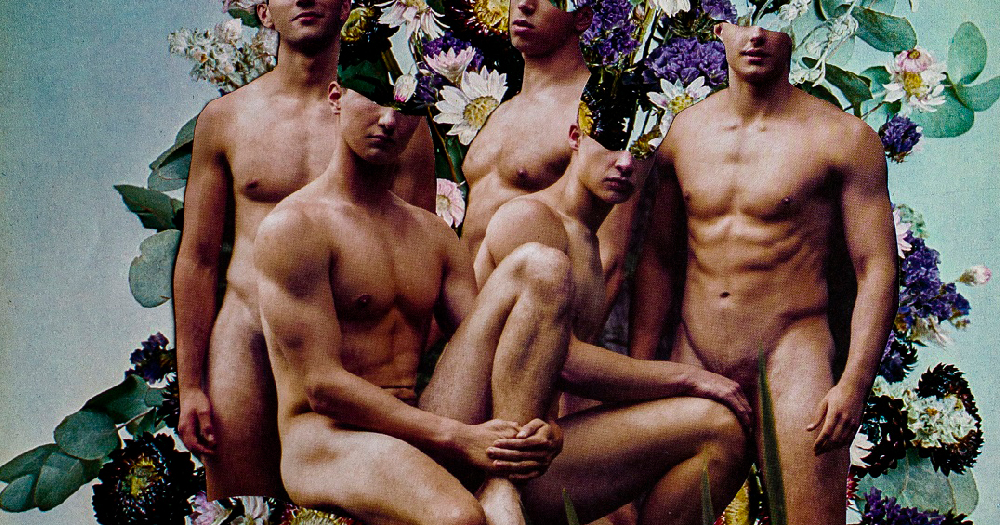 A collage of male bodies and flowers