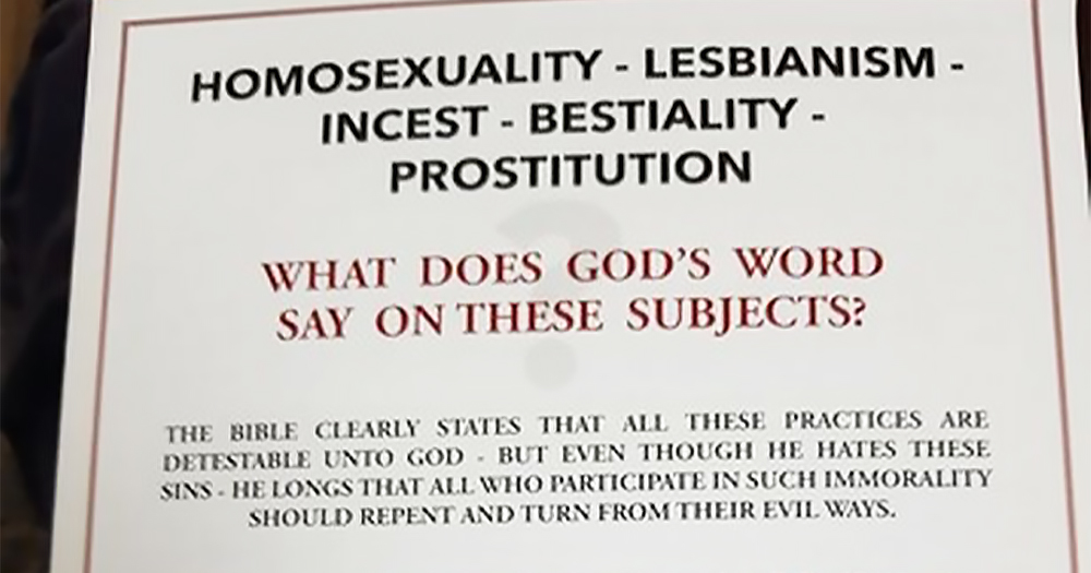 A leaflet containing biblical verses and homophobic words