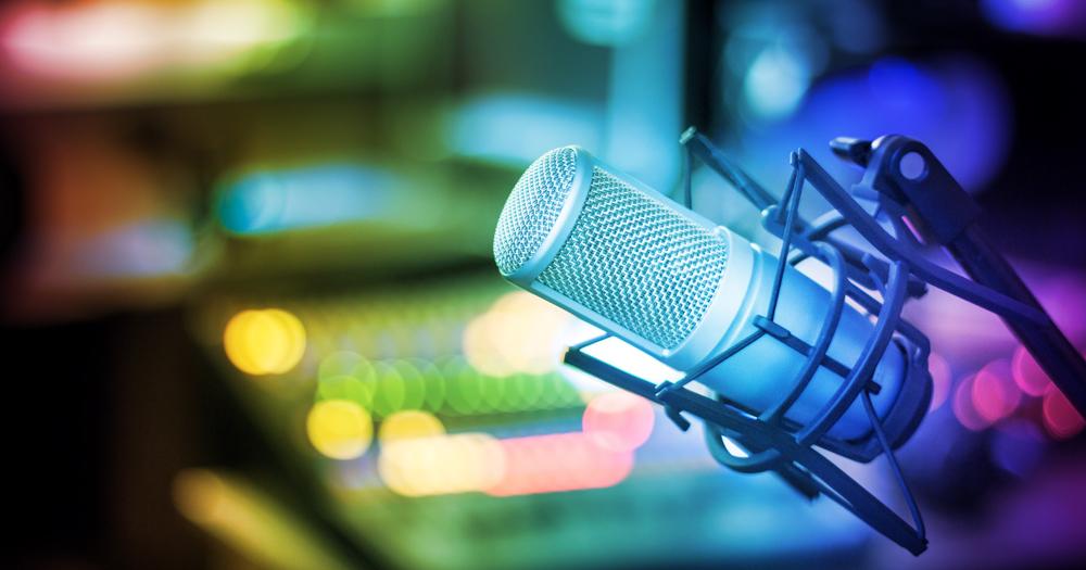 Close up of a microphone in a sound studio