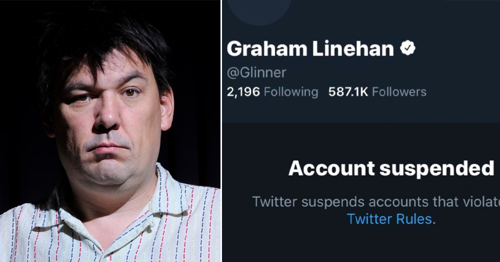Splitscreen of Graham Linehan and his Twitter account saying he has been banned