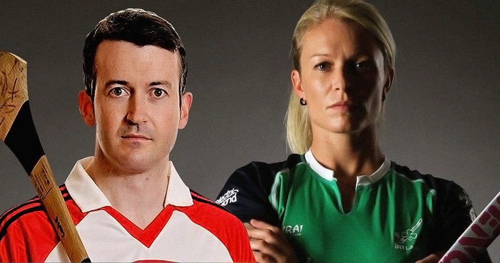 Donal Óg Cusack and Nikki Symmons posed next to one another in their team colours