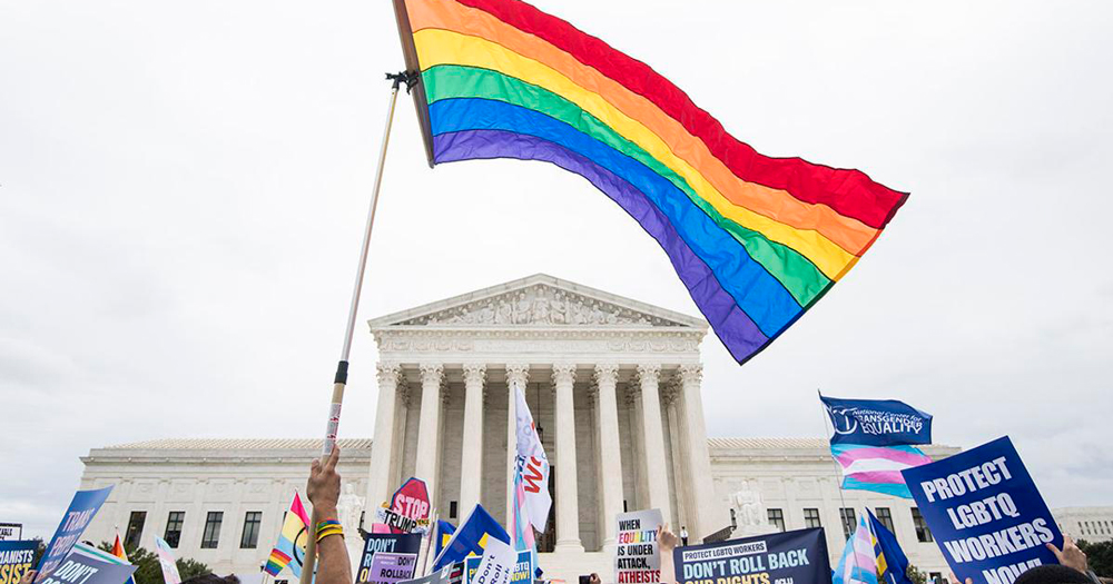 A Rainbow flag flies outside the US Supreme Court