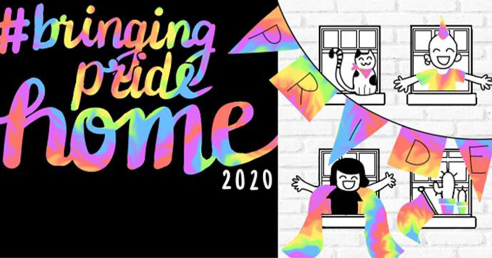 A poster for Pride Self-Care Packs featuring a cartoon drawing of smiling people leaning out windows